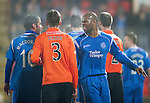 St Johnstone v Dundee United....22.02.11 .Michael Duberry exchanges words with Peter MacDonald.Picture by Graeme Hart..Copyright Perthshire Picture Agency.Tel: 01738 623350  Mobile: 07990 594431