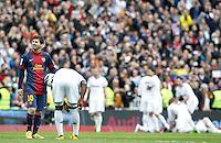 MADRI, ESPANHA, 02 MARÇO 2013 - CAMPEONATO ESPANHOL - REAL MADRID X BARCELONA -Messi (E) jogador do Barcelona em partida contra o Real Madrid em partida pela 26 rodada do Campeonato Espanhol, neste sabado, 02. (FOTO: ALEX CID-FUENTES / ALFAQUI / BRAZIL PHOTO PRESS).