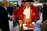 Monicas Story by Monica Lewinsky promotional tour. Town Crier employed to publicise the autography. Lakeside Shopping Centre Essex 1999 1990s UK