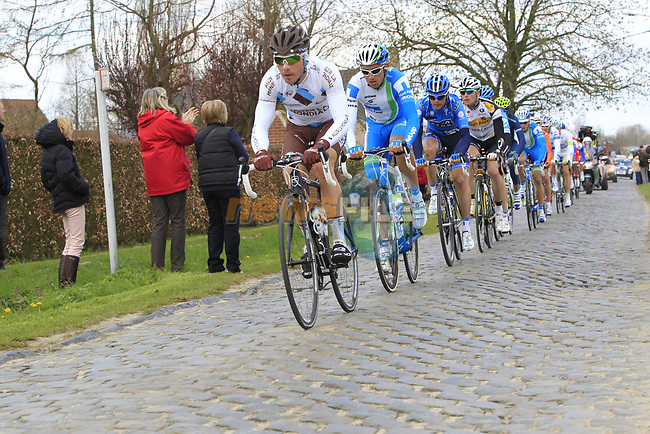 The breakaway group led by Manuel Belletti (ITA) AG2R La Mondiale on the 2nd cobbled section at Doorn during the 96th edition of The Tour of Flanders 2012, running 256.9km from Bruges to Oudenaarde, Belgium. 1st April 2012. <br /> (Photo by Eoin Clarke/NEWSFILE).