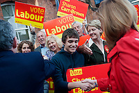 Labour Party supporters greet Prime Minister Gordon Brown and his wife Sarah as they arrive for a day of campaigning in Bournemouth in the South West of England.