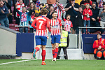 Saul Niguez and Antoine Griezmann of Atletico de Madrid celebrating a goal during La Liga match between Atletico de Madrid and Villareal CF at Wanda Metropolitano in Madrid Spain. February 24, 2018. (ALTERPHOTOS/Borja B.Hojas)