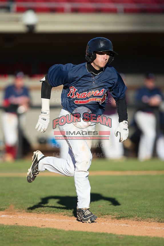 Brandon Riley (24) of Williams High School in Burlington, North Carolina playing for the Atlanta Braves scout team at the South Atlantic Border Battle at Doak Field on November 2, 2014.  (Brian Westerholt/Four Seam Images)