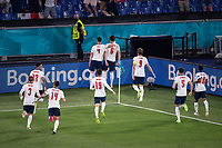 3rd July 2021, Stadio Olimpico, Rome, Italy;  Euro 2020 Football Championships, England versus Ukraine quarter final;  Harry Maguire England celebrates his goal for 0:2 with England squad