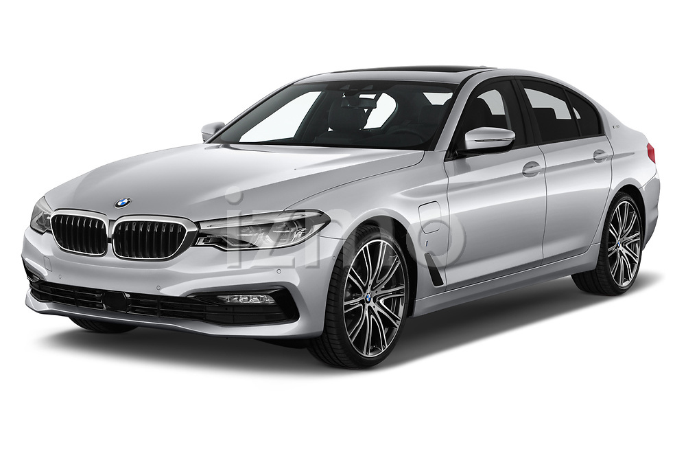 2018 BMW 5 Series Plug-In Hybrid 530e Sport 4 Door Sedan angular front stock photos of front three quarter view