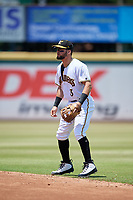 Bradenton Marauders second baseman Jesse Medrano (3) during a Florida State League game against the Tampa Tarpons on May 26, 2019 at LECOM Park in Bradenton, Florida.  Bradenton defeated Tampa 3-1.  (Mike Janes/Four Seam Images)
