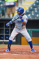Omaha Storm Chasers third baseman Irving Falu (9) readies to bunt during a game against the Oklahoma City Dodgers at Chickasaw Bricktown Ballpark on June 16, 2016 in Oklahoma City, Oklahoma. Oklahoma City defeated Omaha 5-4  (William Purnell/Four Seam Images)