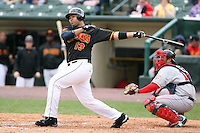 April 30th 2008:  Randy Ruiz (48) of the Rochester Red Wings, Class-AAA affiliate of the Minnesota Twins, at bat during a game at Frontier Field  in Rochester, NY.  Photo by Mike Janes/Four Seam Images