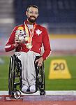 Brent Lakatos, Toronto 2015 - Para Athletics // Para-athlétisme.<br /> Brent Lakatos receives his Gold Medal for the Men's 100m T53 // Brent Lakatos reçoit sa médaille d'or du 100 m T53 masculin. 10/08/2015.