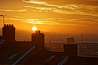 The sun rises over the roof tops, as seen from the Mount Pleasant area of Swansea, in south Wales, UK. Wednesday 24 October 2018