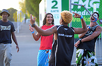 Fans outside the venue on day two of the 2020 HSBC World Sevens Series Hamilton at FMG Stadium in Hamilton, New Zealand on Sunday, 26 January 2020. Photo: Dave Lintott / lintottphoto.co.nz