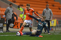 Blackpool's Dan Kemp Leeds United's  Liam McCarron<br /> <br /> Photographer Dave Howarth/CameraSport<br /> <br /> EFL Trophy - Northern Section - Group G - Blackpool v Leeds United U21 - Wednesday 11th November 2020 - Bloomfield Road - Blackpool<br />  <br /> World Copyright © 2020 CameraSport. All rights reserved. 43 Linden Ave. Countesthorpe. Leicester. England. LE8 5PG - Tel: +44 (0) 116 277 4147 - admin@camerasport.com - www.camerasport.com