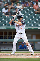 Adam Engel (11) of the Charlotte Knights at bat against the Durham Bulls at BB&T BallPark on May 27, 2019 in Charlotte, North Carolina. The Bulls defeated the Knights 10-0. (Brian Westerholt/Four Seam Images)