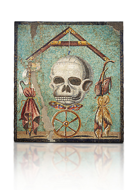 """Roman mosaic of a skull called """"Mimento Mori"""" from Pompeii, inv 100982, Naples National Archeological Museum, White background"""