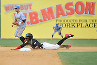 Tony Thomas (2) of the New Britain Rock Cats slides head first into second base during a game against the Reading Fightin Phils at New Britain Stadium on July 13, 2014 in New Britain, Connecticut.  (Gregory Vasil/Four Seam Images)