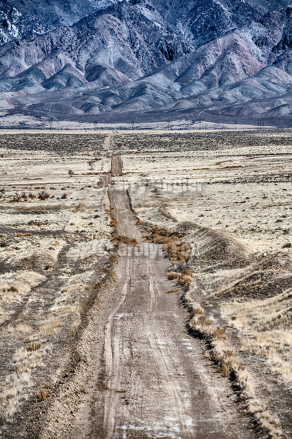 A dirt road crosses the desert toward the West Humboldt Range near Oreana, Nevada
