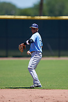 Tampa Bay Rays shortstop Jelfry Marte (76) during a Minor League Extended Spring Training game against the Atlanta Braves on April 15, 2019 at CoolToday Park Training Complex in North Port, Florida.  (Mike Janes/Four Seam Images)