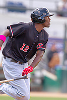 Visalia Rawhide Marcus Wilson (12) hustles down the first base line against the Rancho Cucamonga Quakes at LoanMart Field on May 13, 2018 in Rancho Cucamonga, California. The Quakes defeated the Rawhide 3-2.  (Donn Parris/Four Seam Images)