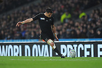 Dan Carter of New Zealand takes a conversion attempt during the Semi Final of the Rugby World Cup 2015 between South Africa and New Zealand - 24/10/2015 - Twickenham Stadium, London<br /> Mandatory Credit: Rob Munro/Stewart Communications