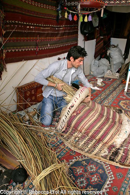 Maker of traditional saddles (palan) in Gerger, Adiyaman province, southeastern Turkey