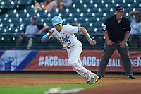 Kyle Datres (3) of the North Carolina Tar Heels takes off for second base during the game against the Miami Hurricanes in the second semifinal of the 2017 ACC Baseball Championship at Louisville Slugger Field on May 27, 2017 in Louisville, Kentucky. The Tar Heels defeated the Hurricanes 12-4. (Brian Westerholt/Four Seam Images)