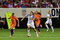 Atlanta, GA - Sunday Sept. 18, 2016: Sherida Spitse, Tobin Heath during a international friendly match between United States (USA) and Netherlands (NED) at Georgia Dome.