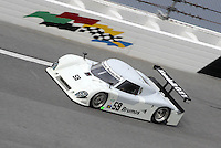 The #59 Brumos Porsche Riley of David Donohue and Darren Law races through the west banking during December testing at Daytona International Speedway as teams prepare for the upcoming Rolex 24 at Daytona, December 8, 2009, Daytona bech, FL. (Photo by Brian Cleary/www.bcpix.com)