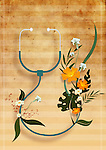 Herbal stethoscope with flowers over colored background depicting natural medicine