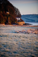 Tuesday 14 January 2014<br /> Pictured: Poet Dylan Thomas' boahouse in Laugharne can be seen in the distance<br /> Re: A cold start across many parts of the UK caused by Sub zero overnight temperatures
