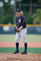 GCL Yankees East relief pitcher Tyler Johnson (46) gets ready to deliver a pitch during the first game of a doubleheader against the GCL Pirates on July 31, 2018 at Pirate City Complex in Bradenton, Florida.  GCL Yankees East defeated GCL Pirates 2-0.  (Mike Janes/Four Seam Images)