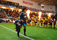 Photo: Richard Lane/Richard Lane Photography. Wasps v Newcastle Falcons. Aviva Premiership. 18/11/2017. Wasps' Ashley Johnson runs out as captain for his 150th game.