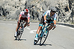 Alexey Lutsenko (KAZ) Astana Pro Team leads Pierre Luc Perichon (FRA) Cofidis over the category 3 Côte des Demoiselles Coiffées during Stage 18 of the 2019 Tour de France running 208km from Embrun to Valloire, France. 25th July 2019.<br /> Picture: ASO/Alex Broadway | Cyclefile<br /> All photos usage must carry mandatory copyright credit (© Cyclefile | ASO/Alex Broadway)