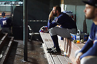 New Hampshire Fisher Cats relief pitcher Tim Mayza (30) sits in the dugout after a walk off loss against the Altoona Curve on May 11, 2017 at Peoples Natural Gas Field in Altoona, Pennsylvania.  Altoona defeated New Hampshire 4-3.  (Mike Janes/Four Seam Images)
