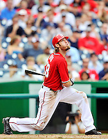 24 September 2011: Washington Nationals outfielder Jayson Werth in action against the Atlanta Braves at Nationals Park in Washington, DC. The Nationals defeated the Braves 4-1 to even up their 3-game series. Mandatory Credit: Ed Wolfstein Photo
