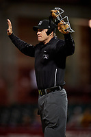 Umpire Tom West calls time out during an Eastern League game between the Altoona Curve and Erie SeaWolves on June 3, 2019 at UPMC Park in Erie, Pennsylvania.  Altoona defeated Erie 9-8.  (Mike Janes/Four Seam Images)