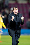 Hearts v St Johnstone…..14.12.19   Tynecastle   SPFL<br />Saints manager Tommy Wright celebrates at full time<br />Picture by Graeme Hart.<br />Copyright Perthshire Picture Agency<br />Tel: 01738 623350  Mobile: 07990 594431