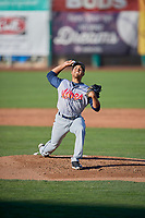 Rocky Mountain Vibes starting pitcher Carlos Luna (18) delivers a pitch to the plate against the Ogden Raptors at Lindquist Field on July 5, 2019 in Ogden, Utah. The Raptors defeated the Vibes 6-4. (Stephen Smith/Four Seam Images)