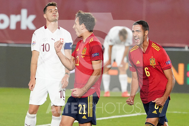 Spain's Mikel Oyarzabal (c) and Mikel Merino (r) celebrate goal in presence of Switzerland's Granit Xhaka dejected during UEFA Nations League 2020 League Phase match. October 10,2020.(ALTERPHOTOS/Acero)
