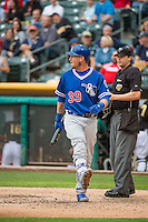 Yasmani Grandal (39) of the Oklahoma City Dodgers is ejected from the game after arguing the call against the Salt Lake Bees in Pacific Coast League action at Smith's Ballpark on May 27, 2015 in Salt Lake City, Utah.  (Stephen Smith/Four Seam Images)