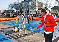 Februari 06, 2015, Apeldoorn, Omnisport, Fed Cup, Netherlands-Slovakia, Draw, Cityhall, streettennis with Jacco Eltingh and Paul Haathuis (R)<br /> Photo: Tennisimages/Henk Koster