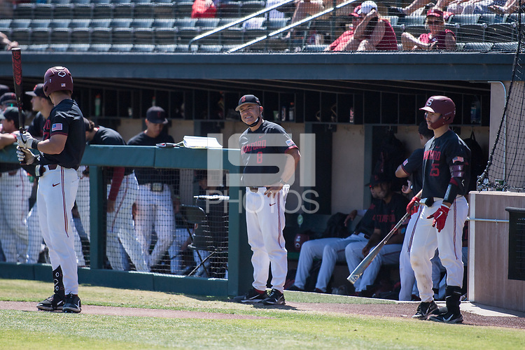 STANFORD, CA - MAY 29: David Esquer during a game between Oregon State University and Stanford Baseball at Sunken Diamond on May 29, 2021 in Stanford, California.