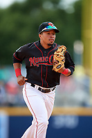 Nashville Sounds shortstop Melvin Mercedes (1) jogs back to the dugout during a game against the New Orleans Baby Cakes on May 1, 2017 at First Tennessee Park in Nashville, Tennessee.  Nashville defeated New Orleans 6-4.  (Mike Janes/Four Seam Images)