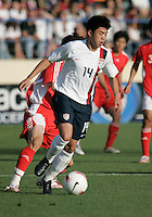 Lee Nguyen holds the ball. The USA defeated China, 4-1, in an international friendly at Spartan Stadium, San Jose, CA on June 2, 2007.