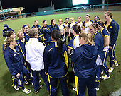 Michigan Wolverines Softball team meeting after a game against the University of South Florida Bulls on February 8, 2014 at the USF Softball Stadium in Tampa, Florida.  Michigan defeated USF 3-2.  (Copyright Mike Janes Photography)