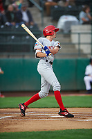 Vancouver Canadians Tanner Morris (26) at bat during a Northwest League game against the Tri-City Dust Devils at Gesa Stadium on August 21, 2019 in Pasco, Washington. Vancouver defeated Tri-City 1-0. (Zachary Lucy/Four Seam Images)