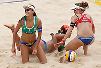 From left, Brazil's Talita Antunes and Taiana Lima and Switzerland's Nadine Zumkehr on the sand during at the Beach Volleyball World Tour Grand Slam, Foro Italico, Rome, 22 June 2013. Brazil defeated Switzerland 2-1.<br /> UPDATE IMAGES PRESS/Isabella Bonotto