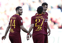 Football, Serie A: AS Roma - Cagliari, Olympic stadium, Rome, April 27, 2019. <br /> Roma's Javier Pastore (c) celebrates after scoring with his teammates Federico Fazio (r) and Kostas Manolas (l) during the Italian Serie A football match between AS Roma and Cagliari, on April 27, 2019. <br /> UPDATE IMAGES PRESS/Isabella Bonotto
