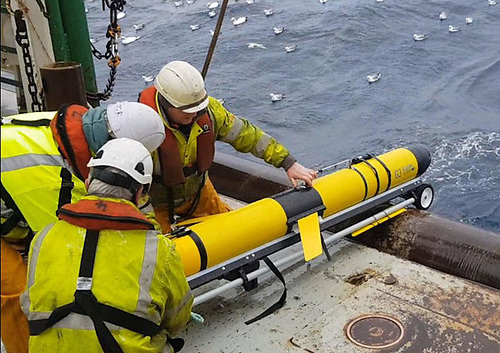 The SeaMonitor ocean glider being deployed at sea