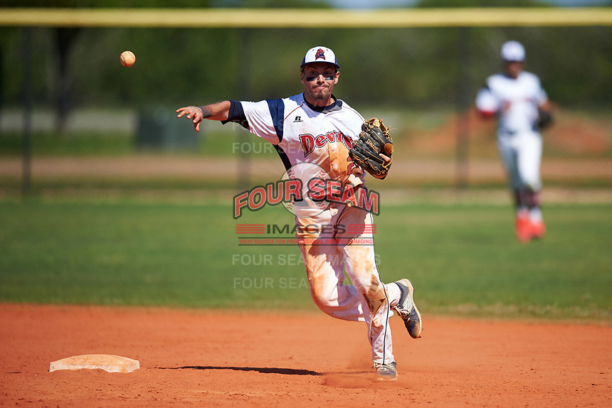 FDU-Florham Devils shortstop Nick DeAngelis Jr. (22) throws to first base during the first game of a doubleheader against the Farmingdale State Rams on March 15, 2017 at Lake Myrtle Park in Auburndale, Florida.  Farmingdale defeated FDU-Florham 6-3.  (Mike Janes/Four Seam Images)