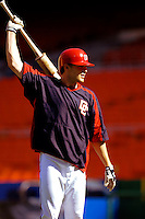 16 June 2006: Brendan Harris, outfielder for the Washington Nationals, gets ready for batting practice prior to a game against the New York Yankees at RFK Stadium, in Washington, DC. The Yankees defeated the Nationals 7-5 in the first meeting of the two franchises...Mandatory Photo Credit: Ed Wolfstein Photo...